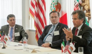 A CalChamber-hosted international luncheon focuses on trade and investment opportunities in Mexico and California with speakers (from left) Marcelo Sada, Source Logistics; Dr. José Blanco, Central Valley Fund Capital Partners; and Dr. Pedro Javier Noyola, Aklara and the NAFTA Fund. Photo by Sara Espinosa