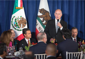 Governor Edmund G. Brown Jr. welcomes President of Mexico Enrique Peña Nieto (left) to Sacramento and California at an August 26 CalChamber-supported State Luncheon building on the July trade mission to Mexico. photo by Robert Durell