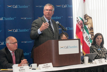 "Timothy Quinn, executive director of the Association of California Water Agencies, explains to the CalChamber Board of Directors on May 28 that the state is good at managing its way through droughts (10 in the last century), as befits a Mediterranean climate. The current ""millennial drought"" is a ""humdinger,"" Quinn says, consisting of the driest sequence of three or four years in 1,200 years., with 2014 being among the hottest and driest on record. The economy is still strong, Quinn says, noting that the Brown administration strategy, like that of the Wilson administration in the 1990s drought, aims to reduce ornamental uses of water and protect business uses to minimize the economic and jobs impact of the water shortage."