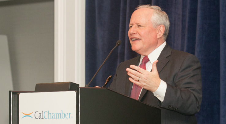 William Kristol, editor of The Weekly Standard and a regular on political commentary shows, shares anecdotes with the CalChamber Board of Directors on the campaign for the U.S. presidency and explains why no party ever wins a mandate because voters change their minds from one election cycle to the next.