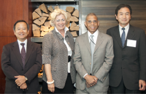 (From left) Satoshi Okawa, president, Japan Business Association of Southern California (JBA)/ Sumitomo Corporation of Americas; Susanne T. Stirling, CalChamber vice president of international affairs; CalChamber Board member Frank Washington, Crossings TV; and Ken-ichi Sato, president, Japanese Chamber of Commerce of Northern California (JCCNC)/Kokusai Semiconductor Equipment Corporation.