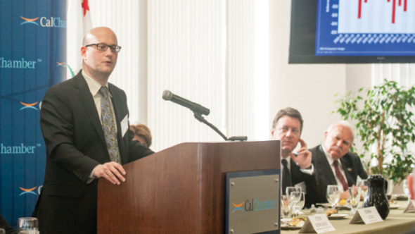California Finance Director Michael Cohen presents an analysis of the Governor's budget proposal at a CalChamber Luncheon Forum on January 13. Photo by Sara Espinosa
