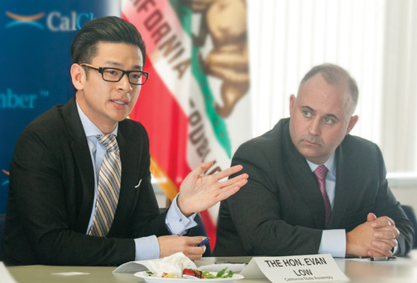 Assemblyman Evan Low (D-Campbell) answers questions from the CalChamber Labor and Employment Committee, chaired by Anthony L. Sabatino (right), Securitas Security Services USA Inc., about concerns such as college affordability, technology innovation, the housing crisis in the Bay Area and the unintended consequences of some legislation.