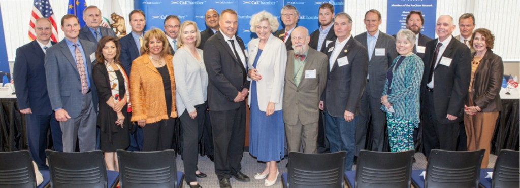 Members of the four California District Export Councils (DEC) gather at the CalChamber offices on May 27 to hear from National DEC Chair Roy Paulson (center front) of Paulson Manufacturing and attend several international trade-related events (see June 5 Alert).