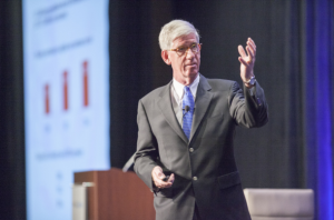 Strategic consultant and pollster Dave Sackett, The Tarrance Group, shares insight on presidential candidates and the math of voter demographics at the CalChamber Capitol Summit on May 17.
