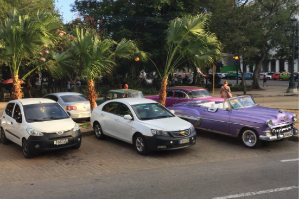 Taxis at the hotel include both vintage cars and modern. A taxi license is one of the few authorized private enterprises in Cuba. Gasoline costs the equivalent of U.S. $5 per gallon.