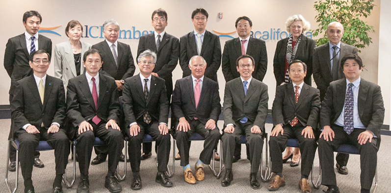 Seated from left: Hiroshi Tomita, executive advisor, Japanese Chamber of Commerce of Northern California (JCCNC )/Konica Minolta Laboratory USA, Inc.; Ken-ichi Sato, JCCNC first vice president/Kokusai Semiconductor Equipment; Hitoshi Yamamuro, JCCNC president/Japan Airlines Co., Ltd.; Allan Zaremberg, CalChamber president/CEO; Hideo Miyake, president, Japan Business Association of Southern California (JBA)/All Nippon Airways Co., Ltd.; Satoshi Okawa, JBA vice president and chair, JBA Business & Commerce Committee/Sumitomo; Naoki Kawada, vice chair, JBA Business & Commerce Committee/Perkins Coie. Standing (from left): Dr. Hayato Urabe, assistant to Makoto Katayama, Innovation Core SEI, Inc.; June-ko Nakagawa, JCCNC executive director; Yoshiharu Nakamura, JCCNC member/Obayashi Corporation; Makoto Katayama, chair, JCCNC Government Relations/Innovation Core SEI (Sumitomo Co.); Eiji Namba, JCCNC New Year's party chair/The Bank of Tokyo – Mitsubishi; Hitoshi Ishikawa, member, JBA Business & Commerce Committee/Mitsubishi; Susanne T. Stirling, CalChamber vice president of international affairs; Yuji Takahashi, JBA executive director.