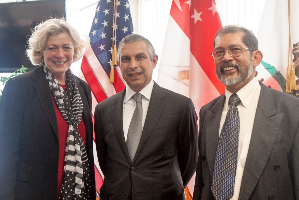 (From left) Susanne T. Stirling, CalChamber vice president, international affairs; Singapore Ambassador to the United States Ashok Kumar Mirpuri; and Chris Cheang, Consul General of Singapore.