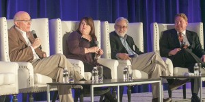 Giving a forecast of the 2016 California elections with the top two primary system in place are (from left) Ace Smith, SCN Strategies; Cynthia Bryant, California Republican Party; Rich Schlackman, RMS Associates; and Kevin Spillane, The Stonecreek Group.