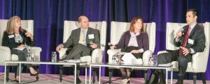(From left) Jeanne Cain, CalChamber executive vice president for policy, moderates an examination of data security policy challenges with panelists Bradley Hayes of the U.S. Chamber; Lorinda Hayes, DLA Piper; and Jeremy Merz, CalChamber policy advocate.