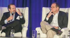 Discussing the presidential campaign are moderator Rob Stutzman (left), Stutzman Public Affairs and Todd Purdum of POLITICO.