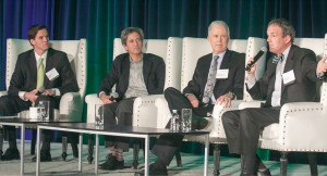 Outlining reform priorities for 2016 (from left): moderator Marshall Tuck, New Teacher Center; David Crane, Govern for California; reform activist Bill Bloomfield; and Charles Munger Jr., Spirit of Democracy.