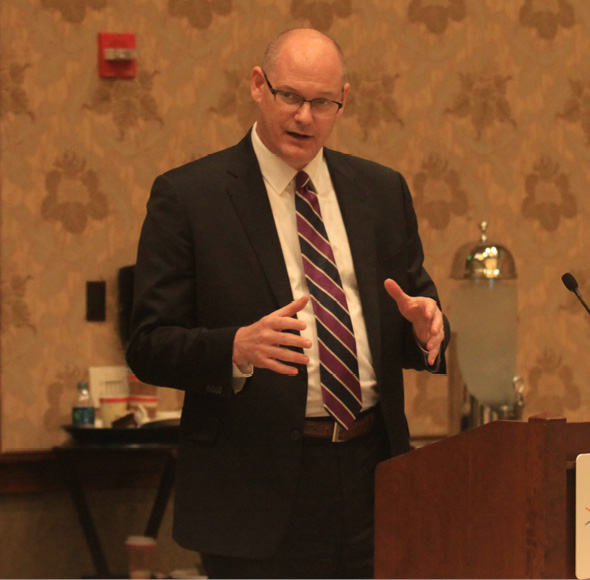 """Brian Kelly, secretary of the California Transportation Agency, presents the CalChamber Board of Directors with an overview of the administration's transportation priorities. He credits the agency's """"fix-it first"""" policy with significantly improving pavement conditions on the state's highways."""
