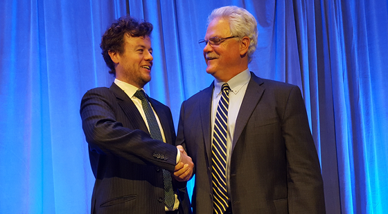 Irish Vice Consul General Colum Hatchell (left) greets 2016 CalChamber Chair Mike Murphy after reading a congratulatory letter to Murphy from Irish Ambassador Anne Anderson at the CalChamber Board dinner on December 8.