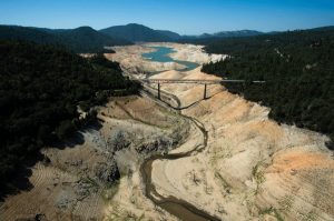 Lake Oroville showing the Enterprise Bridge looking from the South Fork on September 5, 2014. Photo: Courtesy of Department of Water Resources