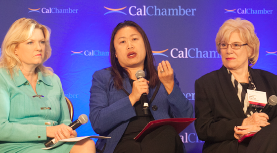 Senators Cathleen Galgiani (D-Stockton), Janet Nguyen (R-Garden Grove) and Jean Fuller (R-Bakersfield) revisit key victories from the 2015-2016 legislative session at the CalChamber Public Affairs Conference on November 30, 2016.