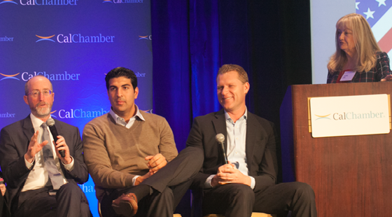 Senator Steve Glazer (D-Contra Costa), and Assemblymembers Matt Dababneh (D-Encino) and Chad Mayes (R-Yucca Valley) discuss key victories and major battles from the past year in a panel moderated by CalChamber Executive Vice President, Policy Jeanne Cain at the CalChamber Public Affairs Conference on November 30, 2016.