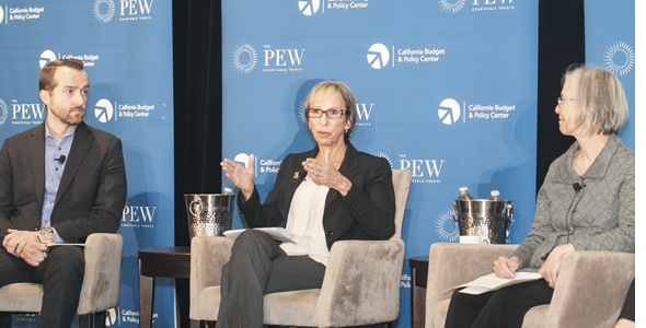 (From left) Mark Herbert, Marti Fisher and Nancy Berlin participate in a panel discussion about what the California Secure Choice Retirement Savings Investment Program (still being developed) means for employers.