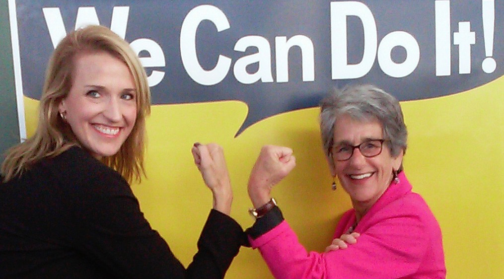 CalChamber Policy Advocate Jennifer Barrera (left) and Senator Hannah-Beth Jackson (D-Santa Barbara) flex their muscle in a show of support of SB 358 at the bill signing ceremony.