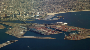 Long Beach marina and cargo terminal, Los Angeles.